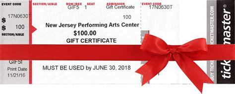 buy gift certificate gift certificates njpac