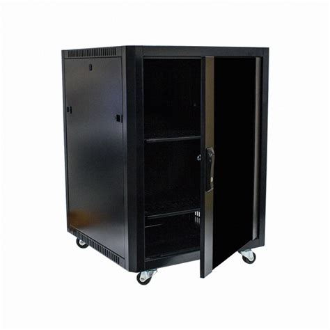 Glass Door Audio Cabinet 15u Steel Rack Audio A V Rack Locking Glass Door Cabinet 600mm Casters Ebay