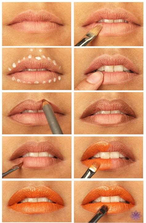 tutorial makeup lipstik orange 22 orange lip tutorial 29 lovely lipstick tutorials to