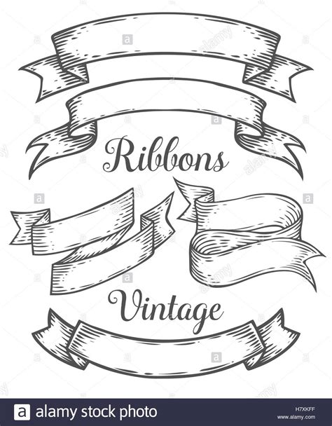 doodle ribbon vector free ribbon retro vintage illustration vector set