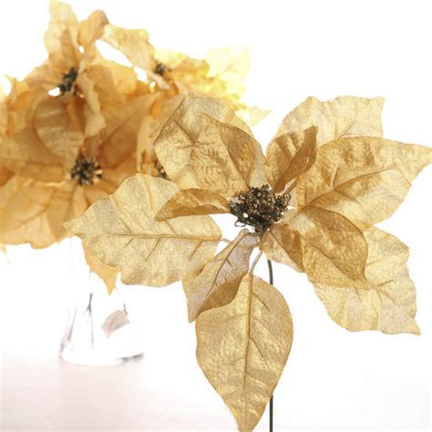 hessian gold poinsettia picks gold glitter and shimmer poinsettia picks florals and winter crafts