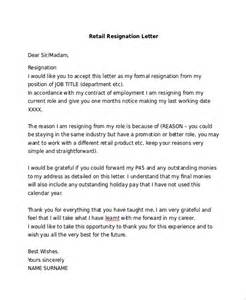 Resignation Letter Retail Basic Resignation Letter Sle 6 Documents In Pdf Word