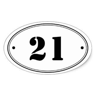 White Oval Stickers With Black Numbers