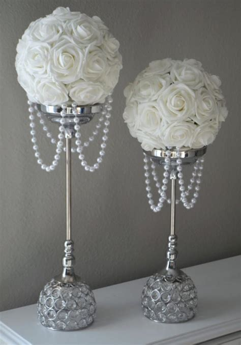 WHITE Flower Ball With DRAPING PEARLS. Wedding Decor