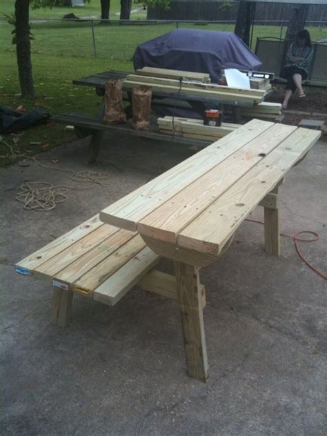 picnic table bench combo bench picnic table combo plans 187 woodworktips