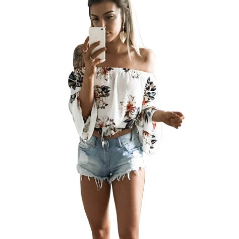 White Muse Print Top Blouse Tshirt 2017 shoulder t shirt white flare sleeve floral print tshirt crop tops