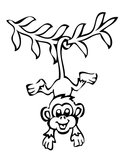 coloring page monkey hanging smiling hanging monkey coloring page h m coloring pages
