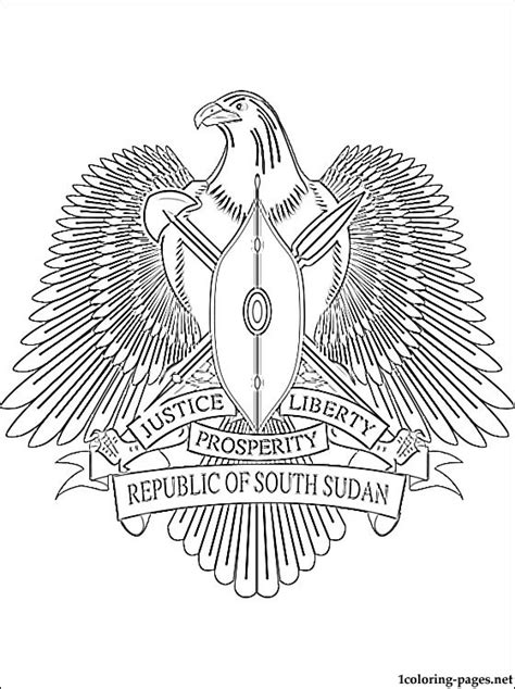 South Sudan coat of arms coloring page | Coloring pages