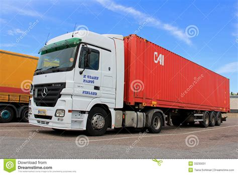 mercedes truck white white mercedes actros truck and trailer editorial