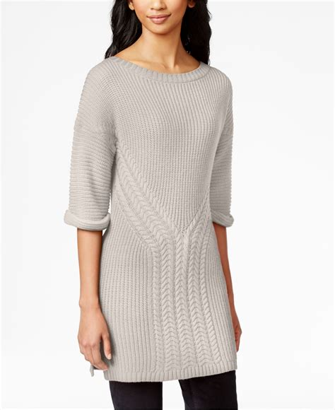 calvin klein knit sweater calvin klein sleeve cable knit sweater in gray