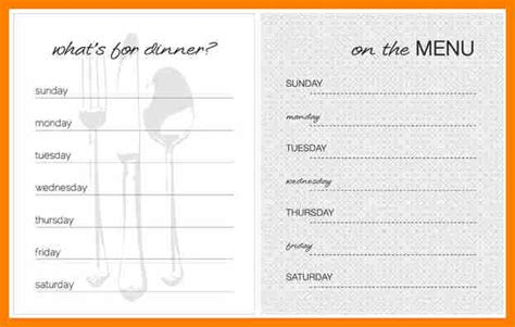 5 blank weekly menu template science resume