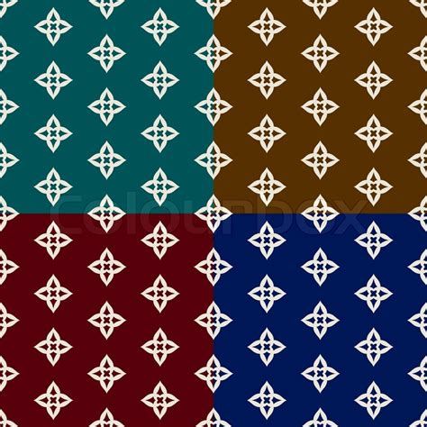red blue brown white oriental flowers patterned roller abstract geometric backgrounds set trendy seamless