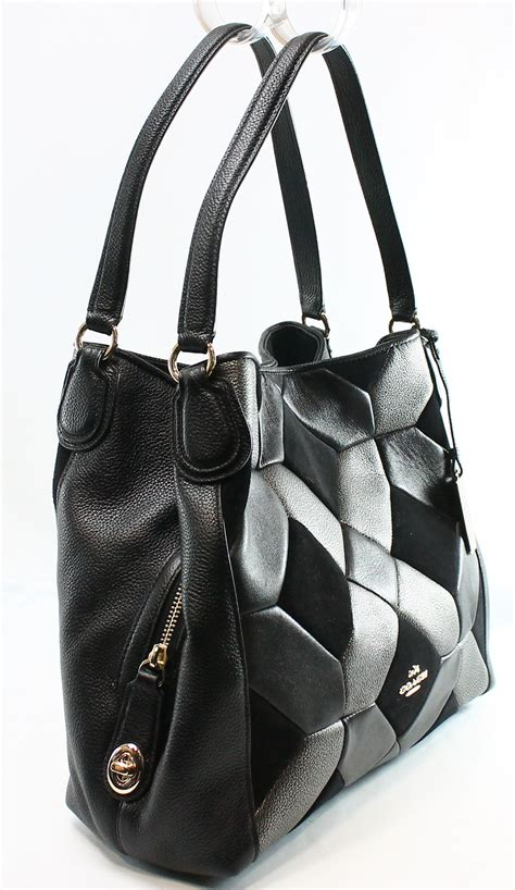 Leather Patchwork Purse - coach new black leather suede patchwork edie shoulder bag