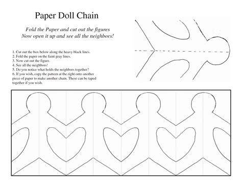 paper dolls template chain 5 best images of printable paper chain template