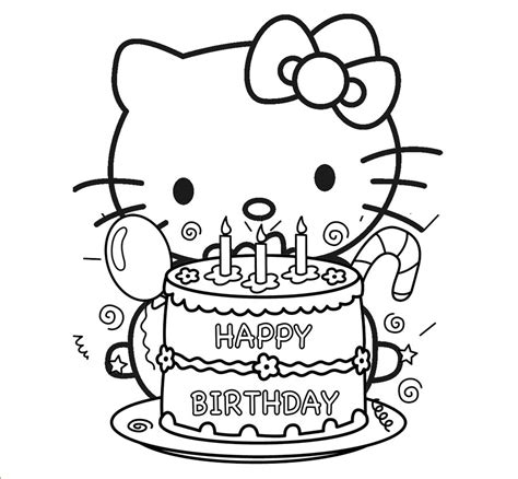 coloring happy birthday cakes candles pages hello kitty preparing to blow out birthday cake candles
