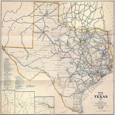 texas railroad maps railroad map of texas c1926 repro 24x24 ebay