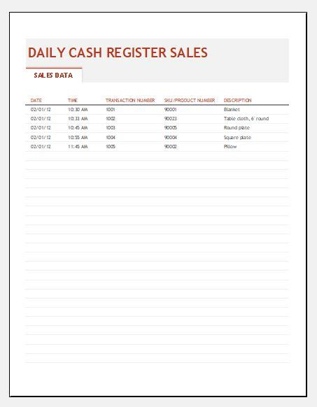 End Of Day Cash Register Report Template Excel Templates End Of Day Register Report Template