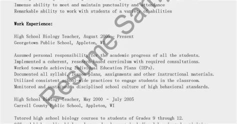 Sample Resume Objectives For Biology Majors by Objective On Biology Resume 28 Images Exles Of Resumes