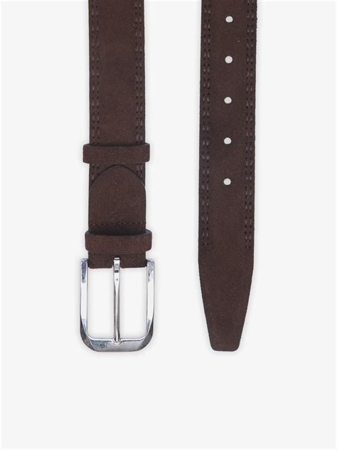 Suede Leather brown suede leather belt brumano