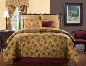 Orange Comforter King Harvest Yellow Gold Burgundy Red Cotton Floral Bedding