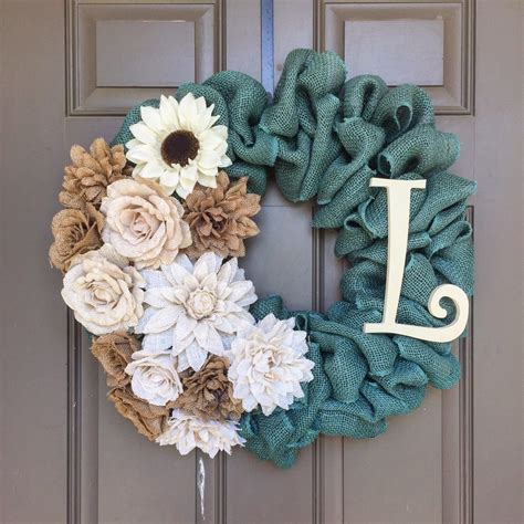 diy wreath a personalized burlap wreath made with turquoise burlap