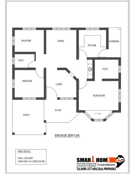 3 bedroom house blueprints 1320 sqft kerala style 3 bedroom house plan from smart
