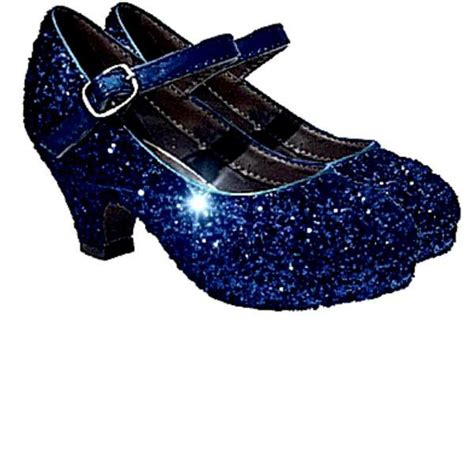 navy blue flower shoes sparkly glitter heels flower birthday pageant shoes