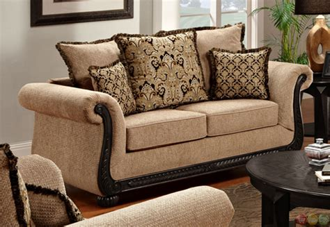 sofa with wood trim delray taupe chenille sofa and loveseat set with exposed