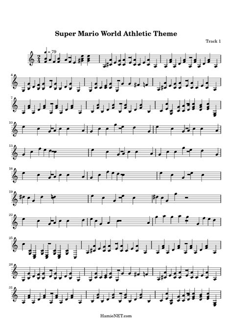 theme music mario super mario world athletic theme sheet music super mario