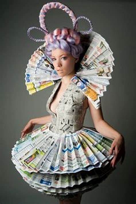 Clothes Out Of Paper - recycled newspaper innovative dresses recycled things