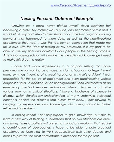 craft your statement with nursing personal statement exles personal statement sle