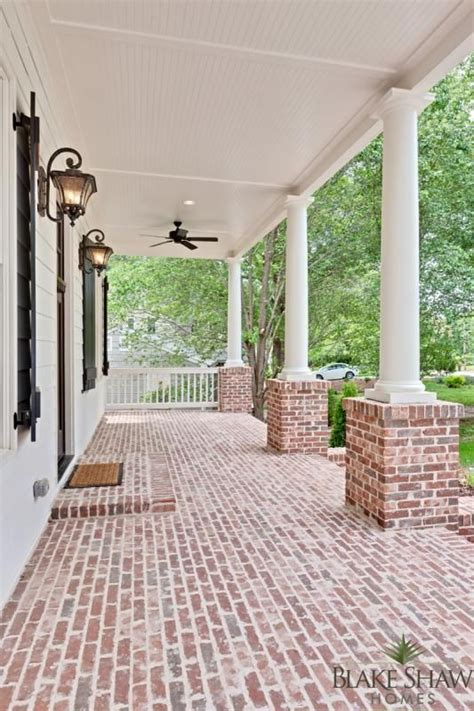 Brick Porch Floor by Ashford Park Custom Home Shaw Homes Atlanta