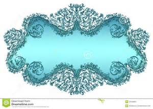 blue damask floral text frame royalty free stock