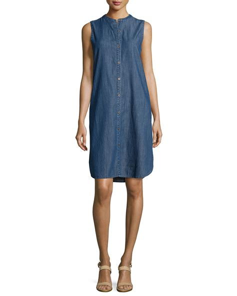 Sleeveless Dress Denim lyst eileen fisher sleeveless button front denim dress