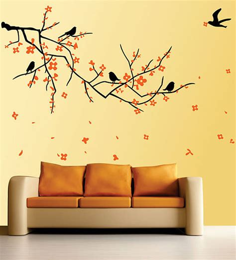 Online Wall Stickers buy walltola pvc vinyl nature black branch with flowers