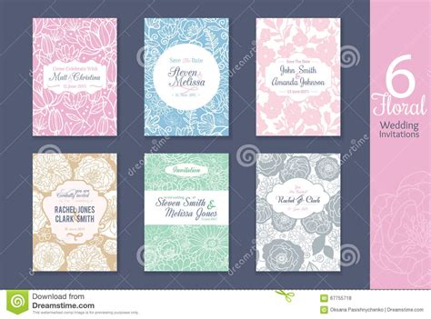 repeating pattern name six floral wedding save the date invitations set with