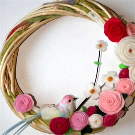 Handmade Decoration - wreath door decoration handmade felt fleece flowers by jbart