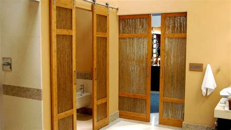 Luxury bathroom bamboo barn doors with thatch resin by trustile denver house pinterest