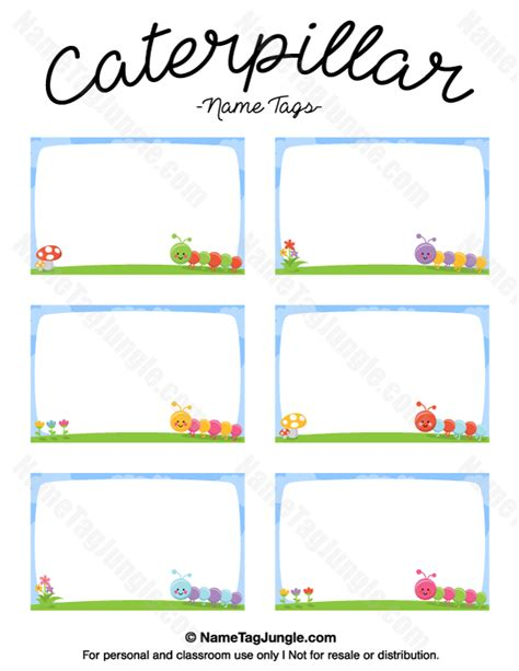 printable name tag color printable caterpillar name tags