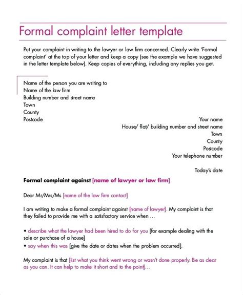 formal complaint letter to landlord template letter of complaint claim letter sle formal letters