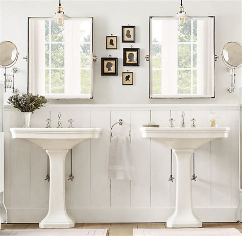 restoration hardware bathroom mirrors his and her pedestal sinks cottage bathroom