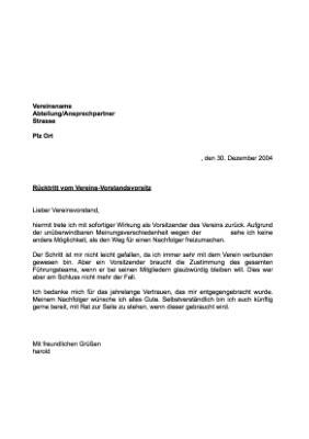Musterbrief Als Vorlage Musterbrief R 252 Cktritt Vereins Vorstandsvorsitz Vorlagen Und Muster Zum Downloaden