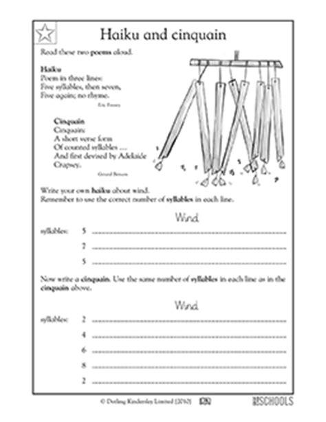 haiku pattern template 3rd grade reading writing worksheets poems haiku and