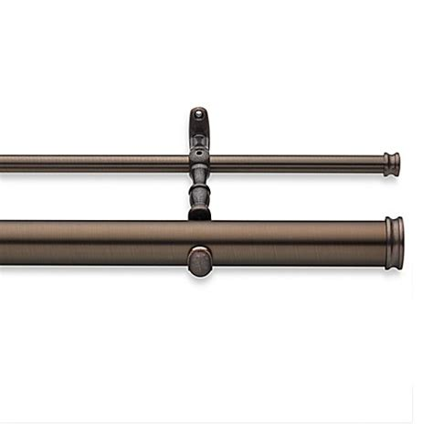 bronze double curtain rod cambria 174 elite complete double drapery rod in oil rubbed