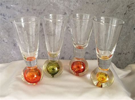 Barware Glasses 1970s Vintage Barware Glasses With Weighted Color