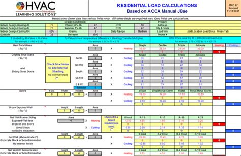 Hvac Load Calculation Spreadsheet by Hvac Learning Solutions Load Calculation Form