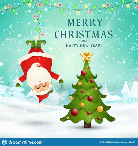 merry christmas happy  year funny santa claus hanging upside   christmas snow scene