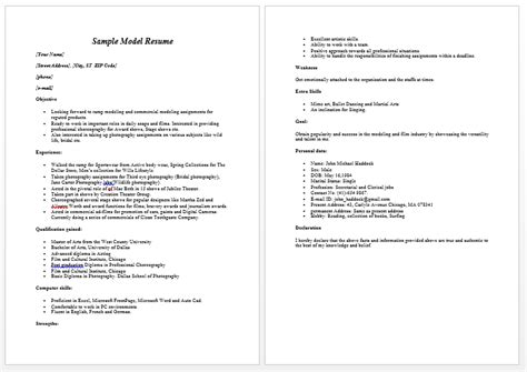 resumes model model resume template learnhowtoloseweight net