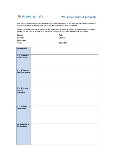 Workshop Output Template Workshop Facilitator Contract Template