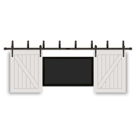 Pacific Entries 32 In X 42 In Tv Prefinished White Wood Rubbed Bronze Barn Door Hardware